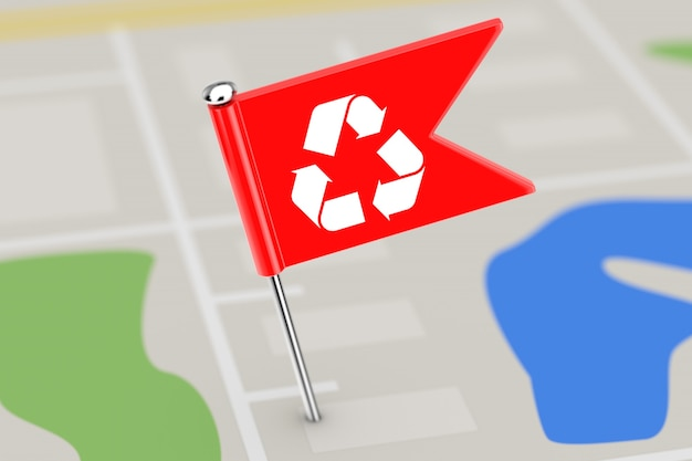 Rote zeiger-flagge mit recycling-zeichen auf kartenhintergrund extreme nahaufnahme. 3d-rendering