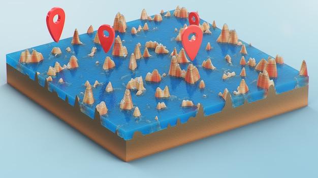 Rote zeiger, markierungen auf der 3d-kartennavigation. konturlinien auf einer topografischen karte