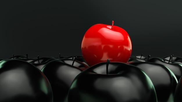 Roter apfel auf schwarzem hintergrund, 3d übertragen.