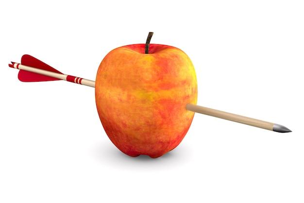 Roter apfel und pfeil auf weißem raum. isolierte 3d-illustration