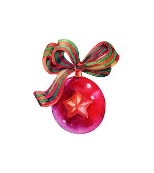 Roter aquarell-weihnachtsball auf weißem hintergrund