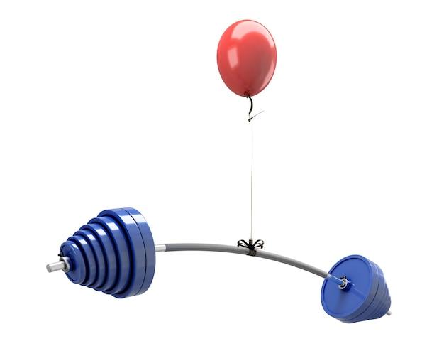 Roter ballon, der eine langhantel lokalisiert auf weiß anhebt. 3d-illustration.