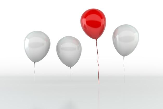 Roter ballon fliegt von anderen ballons hoch. führungs- und geschäftserfolgskonzept. 3d-rendering