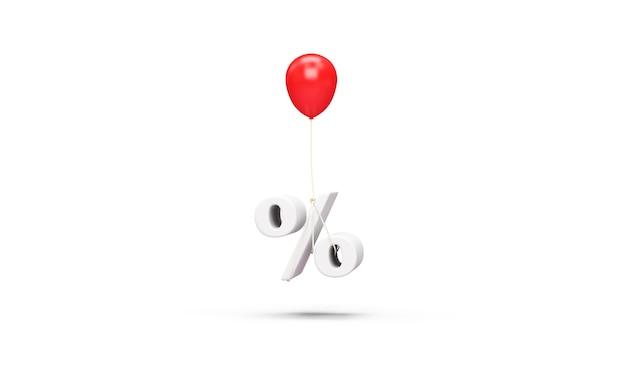 Roter ballon mit einem prozent-symbol auf weißem hintergrund