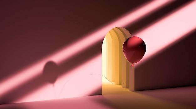 Roter ballon und türhintergrund