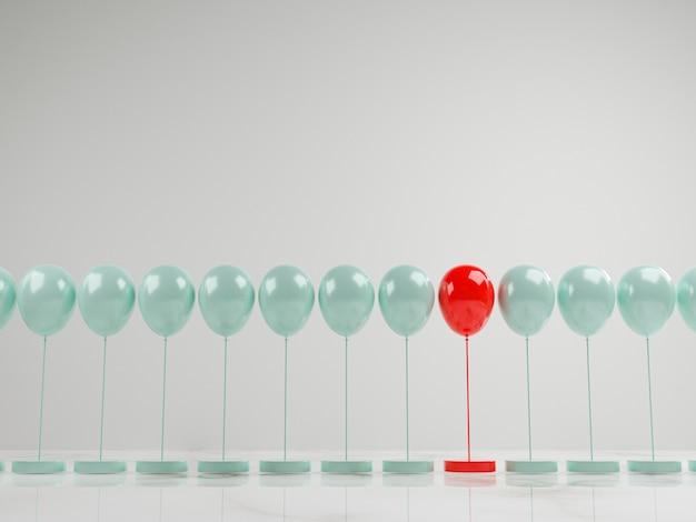 Roter ballon unter blauen ballons blaue ballons, herausragende leistung von der masse für unterschiedliche denkweisen, störungen und führung durch 3d-rendering.