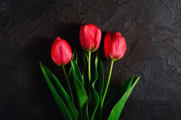 Roter bündel tulpenblumen auf strukturiertem schwarzem hintergrund, kopierraum der draufsicht