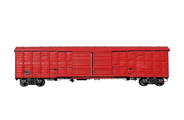 Roter eisenbahnwagen lokalisiert auf weißem hintergrund