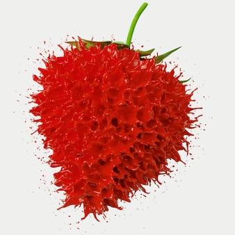 Roter erdbeerspritzer auf weißem hintergrund. 3d-rendering-illustration.