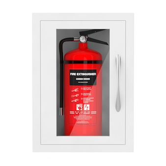 Roter feuerlöscher in einer an der wand befestigten notfall-aufbewahrungsbox auf weißem hintergrund. 3d-rendering