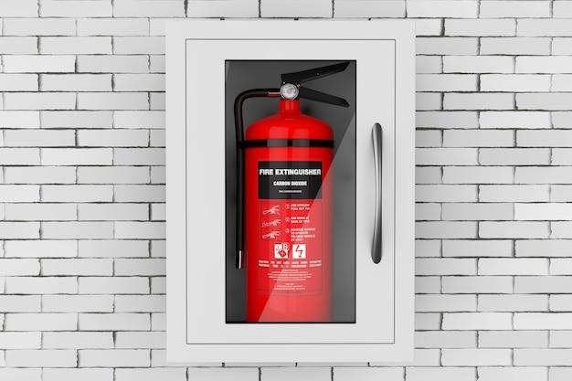 Roter feuerlöscher in einer an der wand befestigten notfall-aufbewahrungsbox vor einer mauer. 3d-rendering