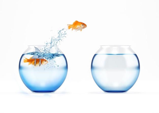 Roter fisch springt zu einer anderen menage, weil er angst vor einem falschen hai hat