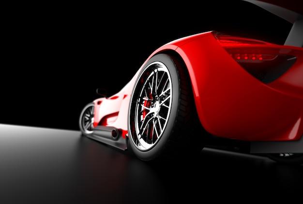 Roter generischer sportwagen auf schwarz