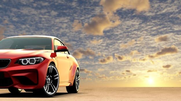 Roter generischer sportwagen ohne markenzeichen mit sonnenuntergangshintergrund