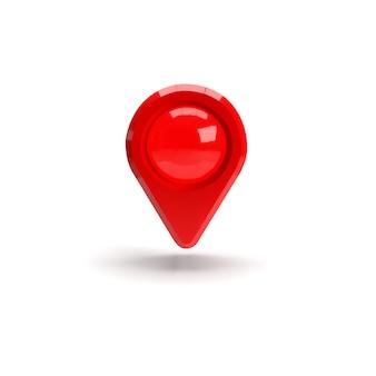 Roter gps-zeiger. roter kartenzeiger. isoliert. dreidimensionales rendering. 3d-renderillustration.