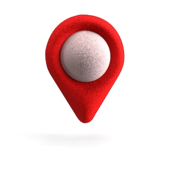 Roter gps-zeiger. roter kartenzeiger. isoliert. dreidimensionales rendering. 3d rendern.