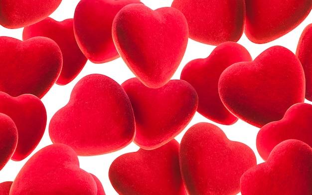 Roter hintergrund des valentinstags mit herzen.