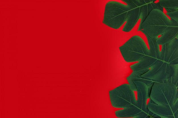 Roter hintergrund mit tropischen blättern