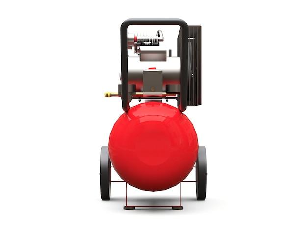 Roter horizontaler luftkompressor isoliert auf einer weißen oberfläche