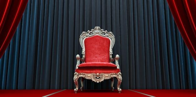 Roter königlicher stuhl auf einem hintergrund von roten und schwarzen vorhängen. 3d-rendering