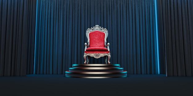 Roter königlicher stuhl auf einem hintergrund von schwarzen vorhängen. 3d-rendering