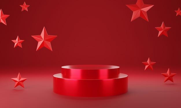Roter kreis produktpräsentationsbühne oder leerer podestsockelhintergrund 3d-rendering