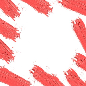 Roter lippenstiftfleck um rand mit leerem raum
