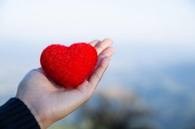 Roter naturhintergrund des herzens an hand im liebes- und friedenskonzept