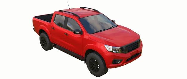 Roter nutzfahrzeug-lieferwagen mit doppelkabine. maschine ohne abzeichen mit einem sauberen leeren körper zur aufnahme ihrer logos und etiketten. 3d-rendering.