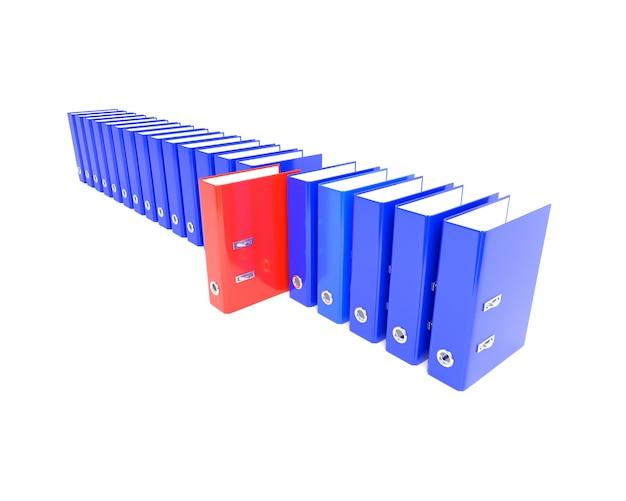 Roter ordner in der serie blau. 3d abbildung