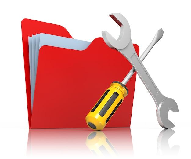 Roter ordner mit schraubenschlüssel und schraubendreher. isoliert auf weiss computerservice.