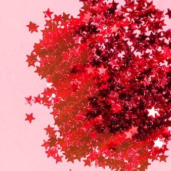 Roter paillettenstapel der draufsicht