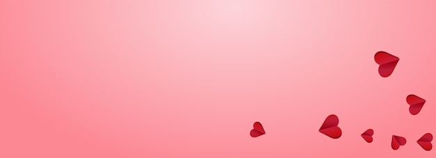 Roter papercut-vektor-rosa-panoramahintergrund. hochzeits-herzen-karte. kastanienbraune farbe romantik-herz-konzept.