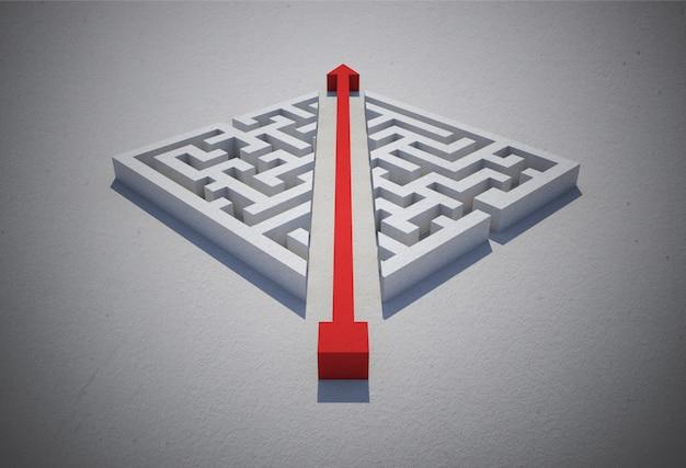 Roter pfeil, der durch puzzlespiel schneidet