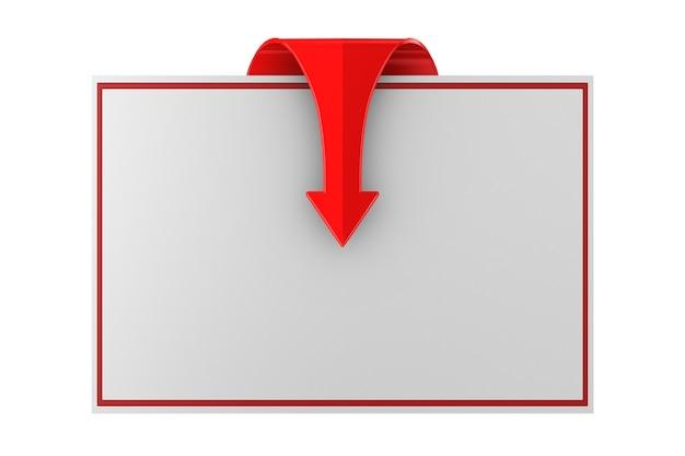 Roter pfeil und fahne auf weißem raum. isolierte 3d-illustration