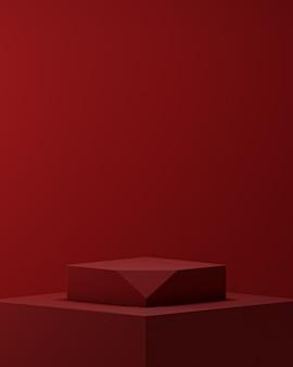 Roter podest-bühnenständer für produktplatzierungs-3d-rendering