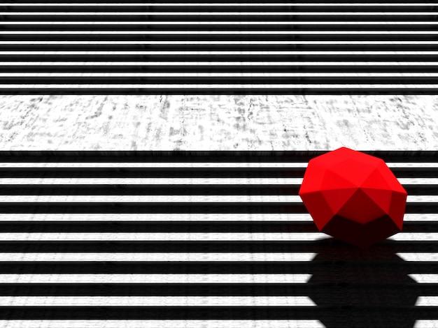 Roter regenschirm auf steintreppe