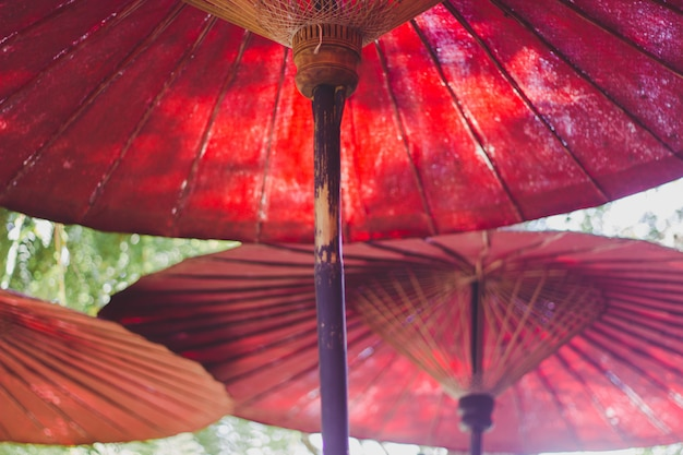 Roter regenschirm im garten