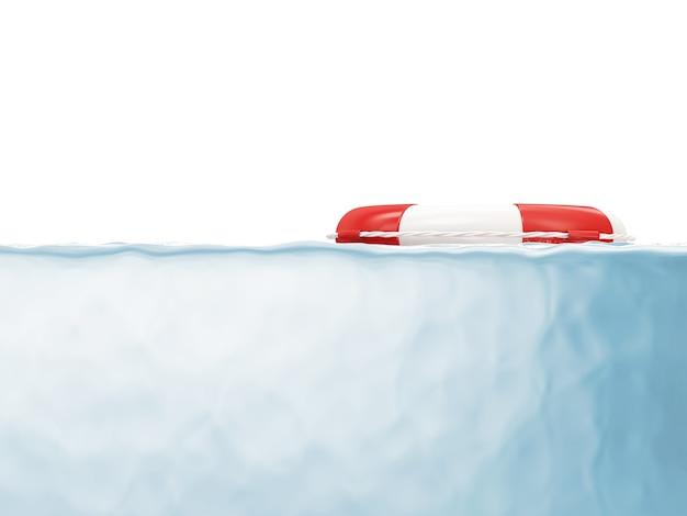 Roter rettungsring im wasser lokalisiert auf weißem hintergrund
