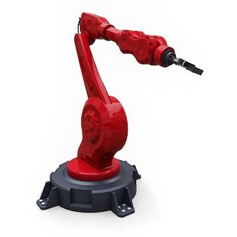 Roter roboterarm für jede arbeit in einer fabrik oder produktion. mechatronische ausrüstung für komplexe aufgaben. abbildung 3d.