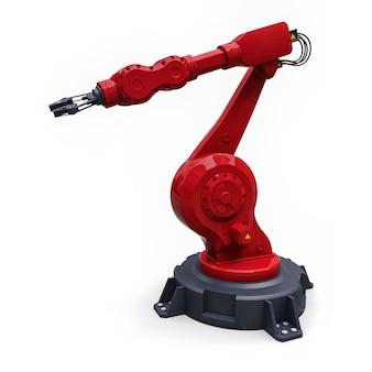 Roter roboterarm für jede arbeit in einer fabrik oder produktion. mechatronische ausrüstung für komplexe aufgaben