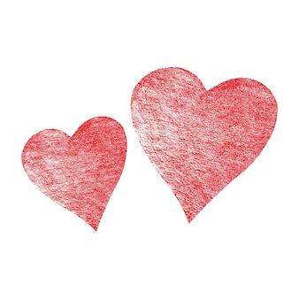 Roter rosa silberner valentinsgruß abstrakter festlicher hintergrund. zwei glitzerherzen isoliert auf weißem hintergrund