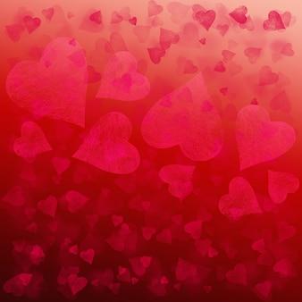 Roter rosa valentinsgruß abstrakter festlicher steigungshintergrund. bokeh-glitter-effekt-muster-textur mit herzen.