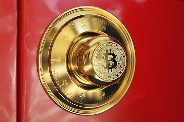 Roter safe. konzeptbild mit goldenem bitcoin-symbol auf dem griff.