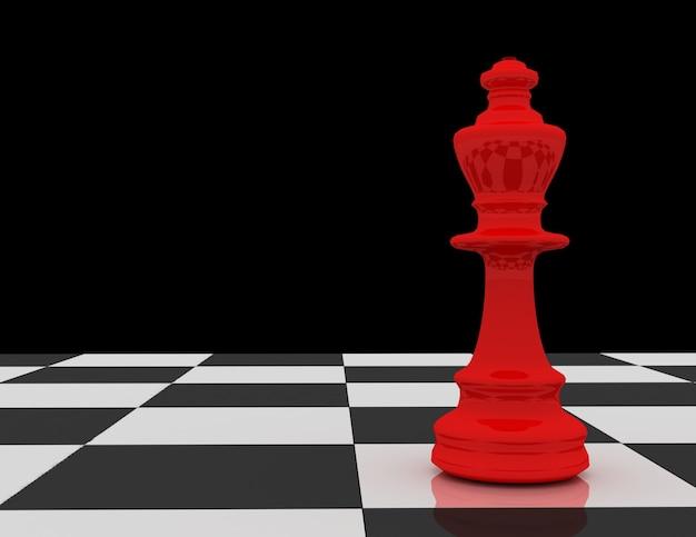 Roter schachkönig auf schachbrett auf schwarzem hintergrund