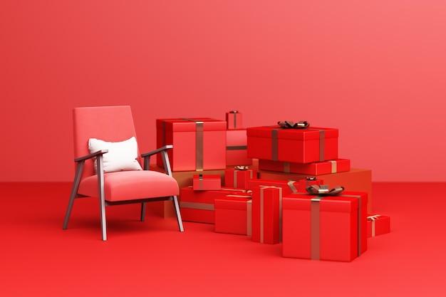 Roter sesselstoff mit roter geschenkbox auf rotem grund. 3d-rendering
