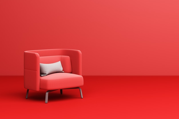 Roter sesselstoff mit weißem kissen auf 3d-rendering des roten hintergrunds