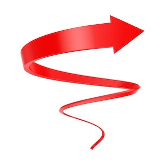 Roter spiralpfeil twist bis zum erfolg auf weißem hintergrund. 3d-rendering