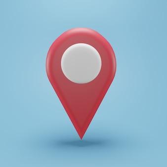 Roter standort 3d-darstellung. 3d-standortzeichensymbol rote farbe auf blauem hintergrund