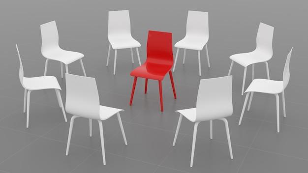 Roter stuhl in einem kreis der weißen stühle auf einem grauen hintergrund. 3d-illustration. 3d rendern.